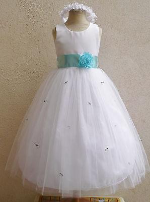 NEW WHITE AQUA/POOL BLUE FLOWER GIRL INFANT PARTY DRESS