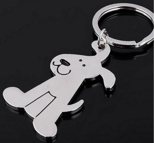 Happy Cute Dog Animal Keyring Key Ring Metal Silver Black Canine 25g UK Seller