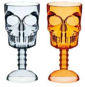 Set-of-2-350ml-Spookily-Does-It-Halloween-Black-amp-Orange-Skull-Drinking-Goblets