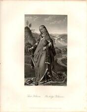 Stampa antica SANTA CATERINA Van Eyck 1875 Old Print Engraving