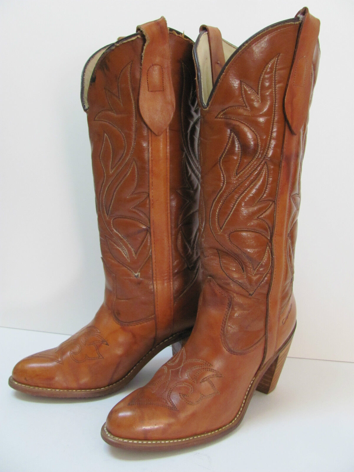 Vintage Capezio Blond Burnished Western Fashion Boot, Size 5M, Made in USA
