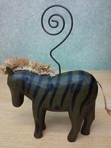 Wooden Animal Wire photo, card holders: Zebra