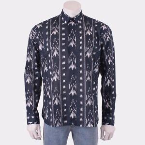 SAINT-LAURENT-PARIS-890-Black-Yves-Neck-Shirt-In-Ikat-Printed-Cotton-Voile