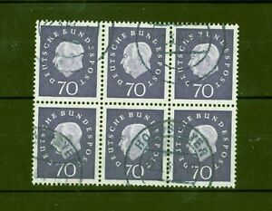 Deutschland-1959-Heuss-70-Pfg-Medaillon-Nr-306-Viererblock-2-gestempelt