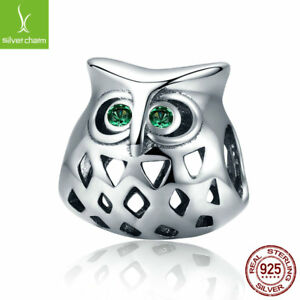 Shine-New-Arrival-925-Sterling-Silver-Lovely-Owl-Openwork-Clear-CZ-Charm-Beads