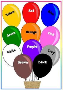COLOURS ON BALLOONS - A4 LAMINATED POSTER- FIRST LEARNING- TODDLER ...