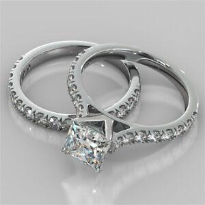 2.62 Ct Princess Real Moissanite Band Set 14K Solid White Gold Engagement Ring