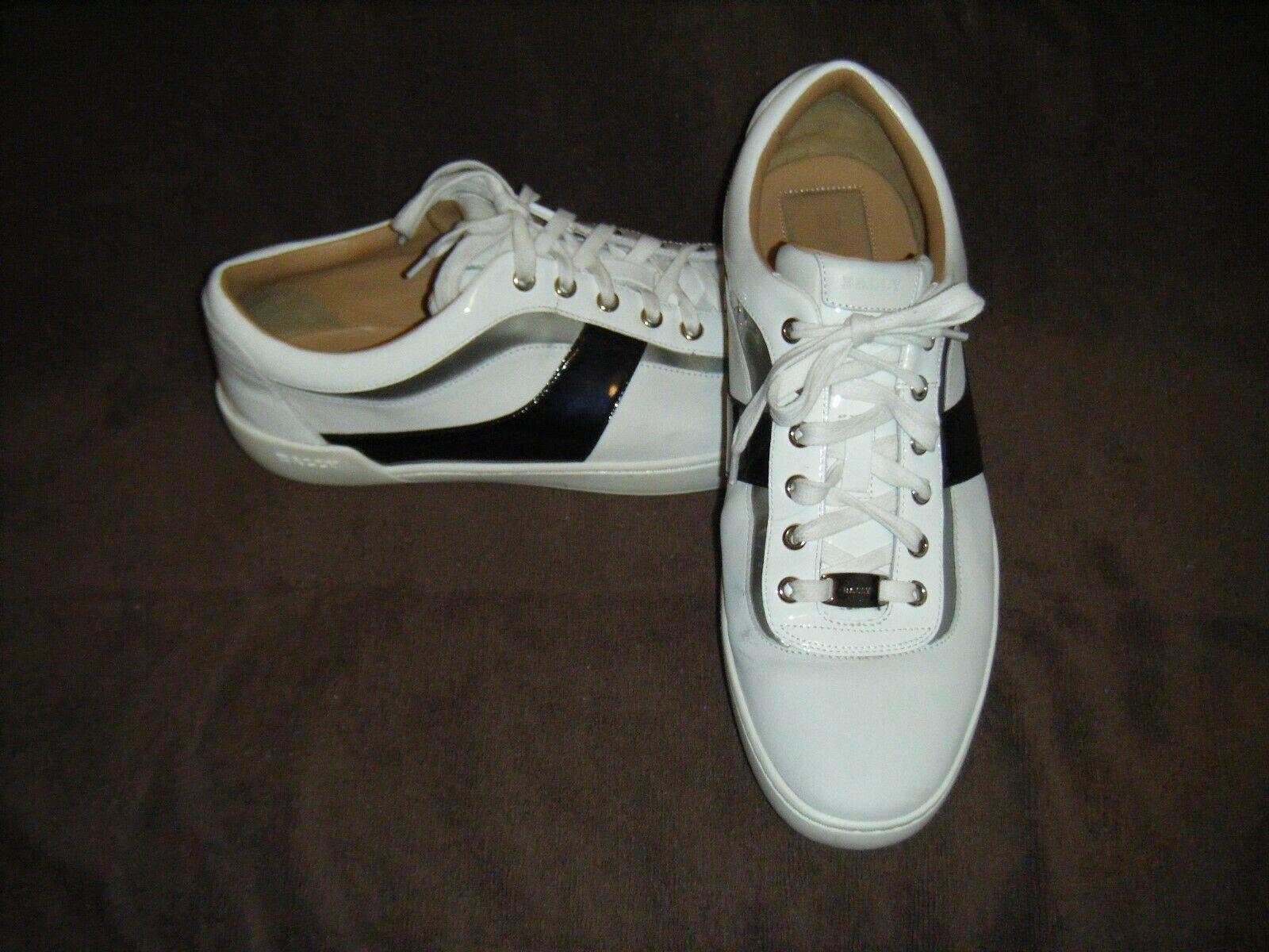 600  Bally Eron 07 White Calf Plain Leather Sneakers size US 11.5