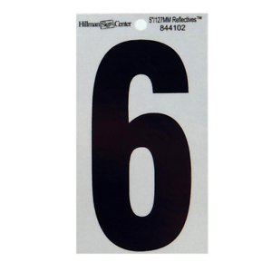 The Hillman Group 844102 5-1//4-Inch Reflective Square-Cut Mylar Number 6 Bla