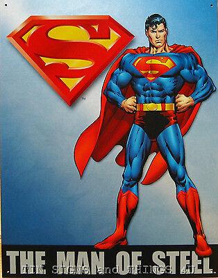 Superman The Man of Steel TIN SIGN metal poster retro superhero home decor 1337