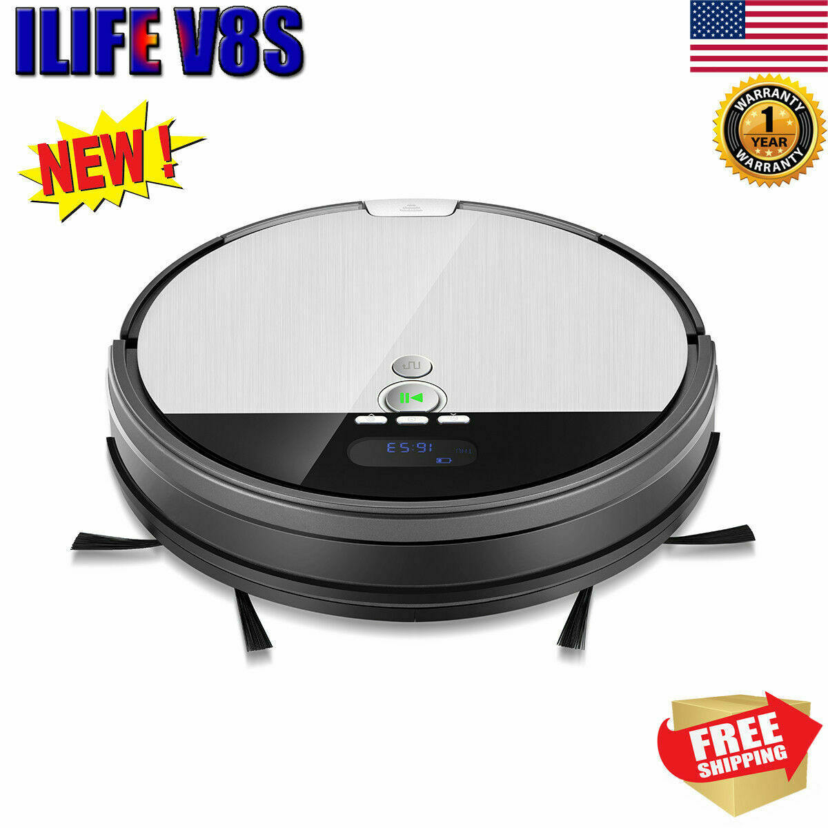 ILIFE V8S Smart Robotic Vacuum Cleaner Auto Floor Sweeping Cleaning LCD Display