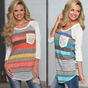Ladies-Summer-Loose-Tops-Long-Sleeve-Shirt-Casual-Blouse-Tee-Size-10-12-14-16-18