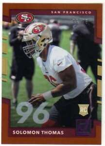 2017-Panini-Donruss-Football-Jersey-Number-96-RC-366-Solomon-Thomas-49ers
