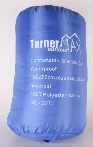 Turnermax Sac de couchage une personne taille de 190 cm x 75 cm couleur bleu