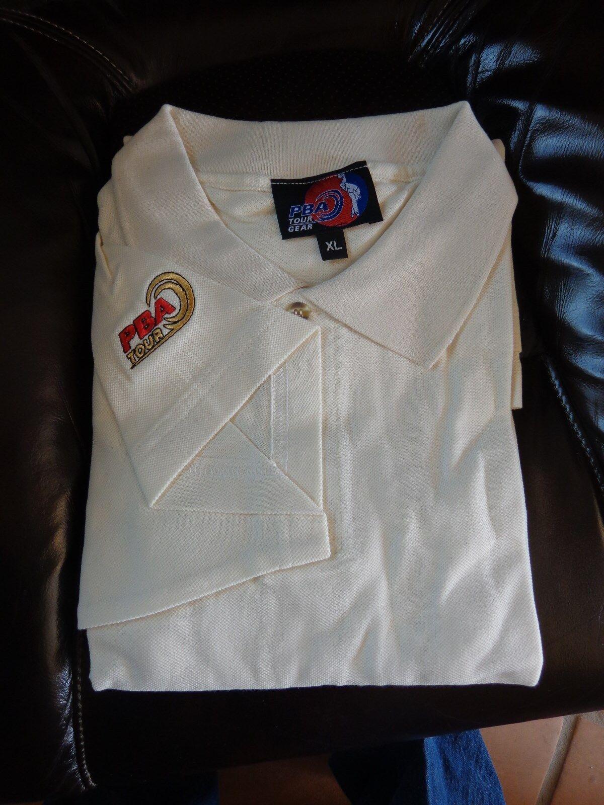 Vintage Retro PBA Tour Logo Cream White Polo Bowling Shirt - XL - Free Shipping