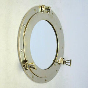 15-Nautical-Solid-Brass-Ships-Porthole-Mirror-Round-Maritime-Wall-Decor-New