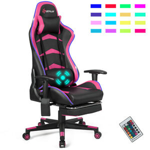 Massage LED Gaming Chair Reclining Racing Chair w/Lumbar Support&Footrest Pink