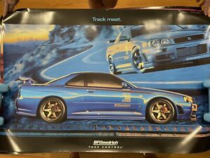 BF GOODRICH POSTER BLUE NISMO R34 GTR SKYLINE TRACK MEAT *Mint Condition*