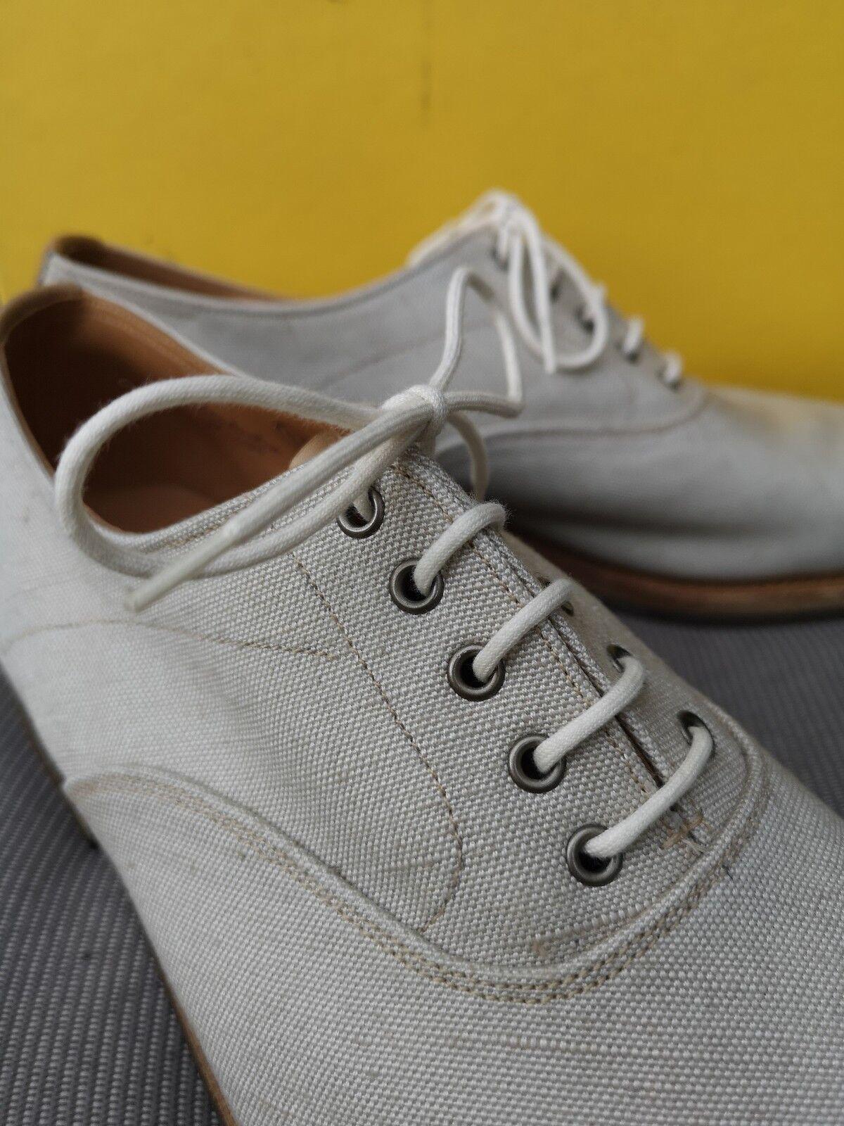 Zapatos casuales salvajes John Lobb Medbourne Zapatos para hombre Talla 7E, exterior de lona, cuero forrados, hecho a mano