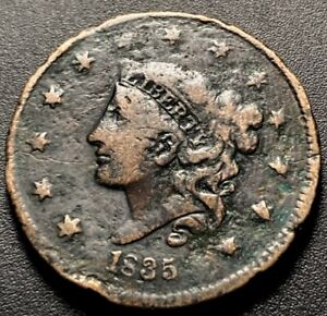 1835 Coronet Head Large Cent 1c Head Of 36 Variety Obsolete US Type Coin