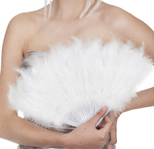 20er Feder Fächer Weiß NEU - Zubehör Accessoire Karneval Fasching