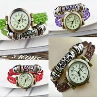 Mode Retro Damen Wickelarmbanduhr Armbanduhr Leder Damenarmbanduhr Uhr Kaffee