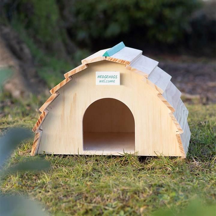 Adorable Little Wooden Hedgehog House For Your Garden