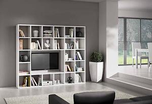 Mobile libreria moderna a cubi bianco frassinato casa for Mobile ufficio bianco