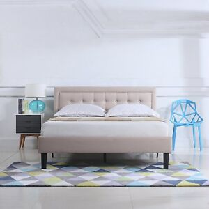 Low Profile Bed Tufted Upholstered