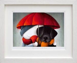 Doug-Hyde-SHOWERED-WITH-LOVE-WHITE-FRAME-Cute-Print-Black-Dog-Lab-Labrador