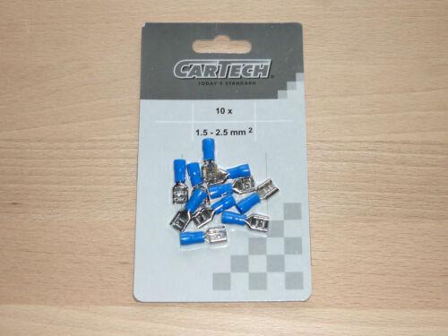 100 trozo de cable enchufe 1,5-2,5mm² cable zapatos doblado 6,3mm aislado azul