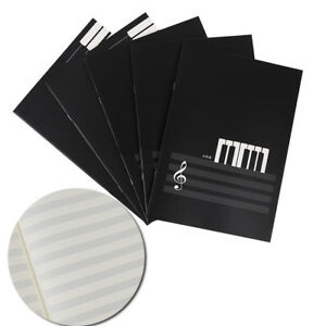 New-Blank-Music-Manuscript-Writing-Paper-Book-Staff-Notebook-Black-18-Pages-ca