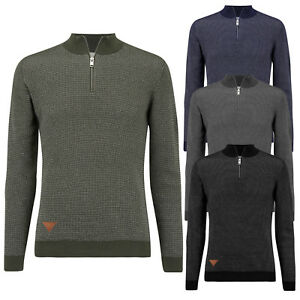 Mens-Jumper-Stallion-Zip-Neck-Winter-Knitted-Casual-Sweater-Tops-Pullover-New