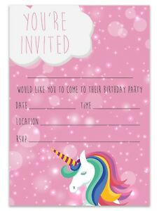Unicorn birthday party invitations invites children pink girls kids image is loading unicorn birthday party invitations invites children pink girls filmwisefo