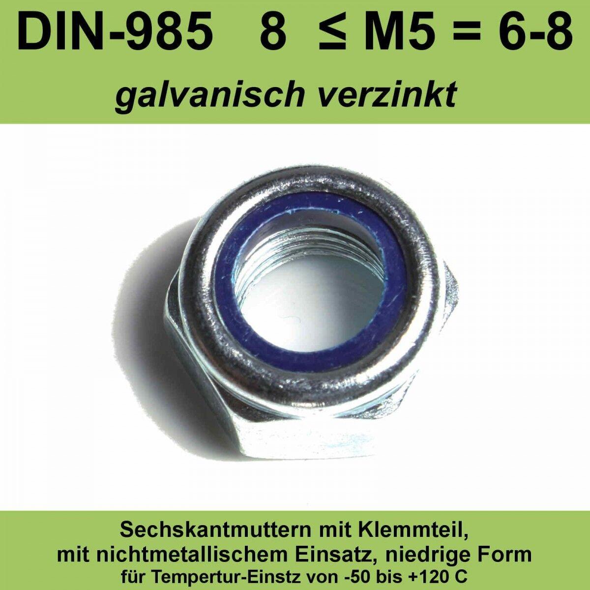 M14 DIN 985 Sicherungsmuttern verzinkte 8. selbstsichernde Stopmuttern 20-500 St
