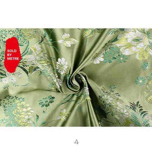 Chinese Damask Fabric Peony Jacquard Brocade Traditional Qipao Cloths Craft Cosy