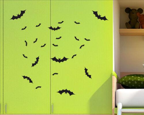 Set of 24 x BATS Halloween bat decal sticker vinyl wall art kids child room BAT4