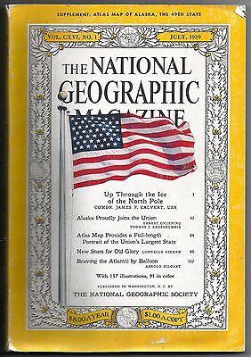 Vintage July 1959 National Geographic Magazine Book Alaska Hot Air Balloon