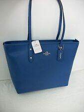 NEW Coach F58846 City Zip Tote In Crossgrain Leather Handbag Lapis (blue) $295.0