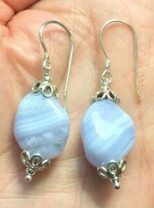 BLUE-LACE-AGATE-NUGGET-SOLID-92-5-STERLING-SILVER-HOOK-EARRINGS-SHORT-DROP-1-7-034