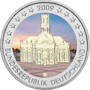 5x-2-Euro-Gedenkmuenze-BRD-2009-ADFGJ-Saarland-coloriert-Farbe-Farbmuenze