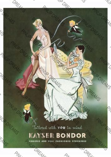 Art re-print Vintage Poster Kayser Bondor Stockings Advert in various sizes