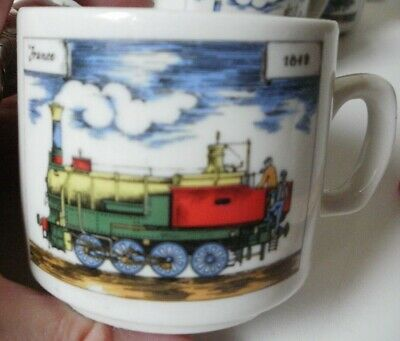 Mid-century Demitasse 5 France/locomotive Clients First Cups Only By Cipa Porcellana Italy