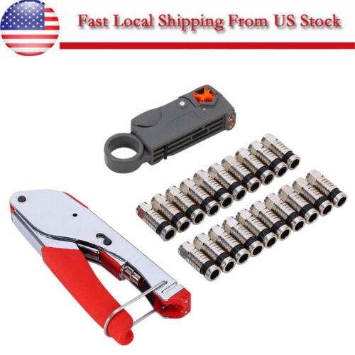 22pcs Compression Tool F BNC RCA RG6 RG59 Connector Cable Coax Stripper Crimper