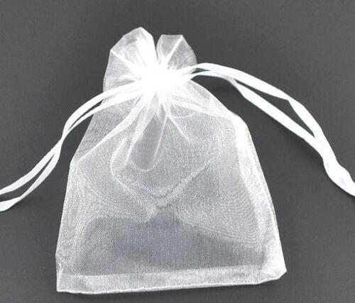 25 Silver organza Bags 9cm x 7cm