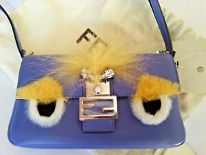 fd7daaf76ca5 NEW Auth FENDI Bag Bug Micro Baguette Monster 2 WAY Bag Leather ...