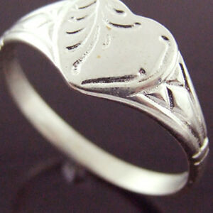 FS44-GENUINE-REAL-925-STERLING-SILVER-LADIES-ANTIQUE-HEART-DESIGN-SIGNET-RING-P