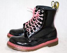 DR. MARTENS Pascal Wo's 8 Eu 39 Black & Pink Patent Lace Up Ankle Boots