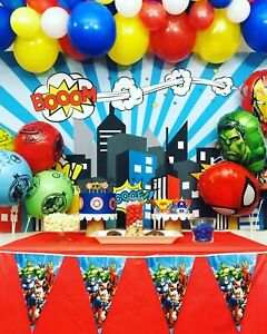 Details about Superhero Avengers Birthday Theme Party Decorations,  Superhero Party Supplies