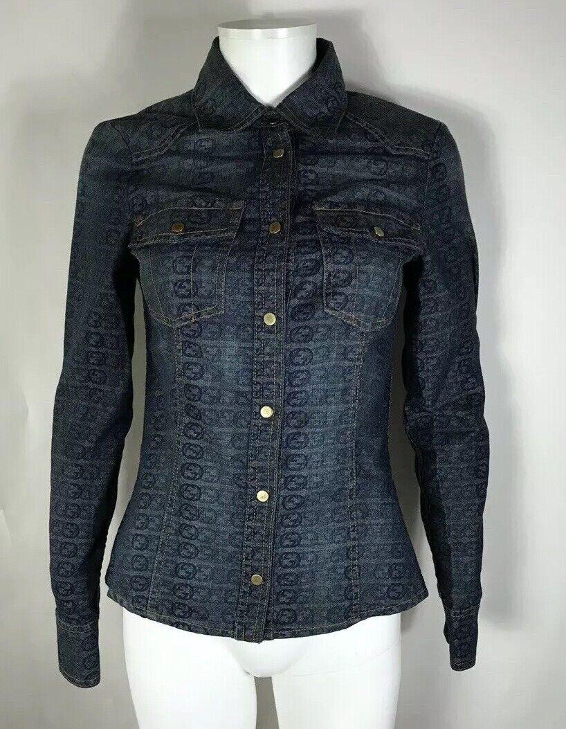 Rare Vtg Gucci Blue GG Monogram Denim Jacket S - image 3